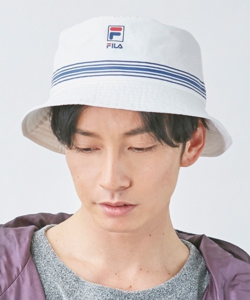 【FILA】FLH STRIPE PRINT BUCKET HAT