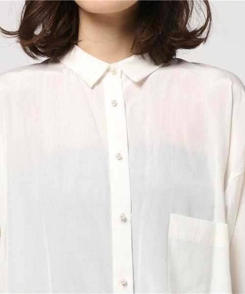 ソアコティ ブライトローン パールボタンシャツ