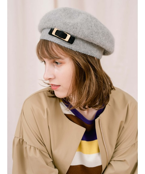 Athena New York(アシーナニューヨーク)の「【AthenaNewYork】Naomi Beret(ハンチング/ベレー帽)」|ライトグレー