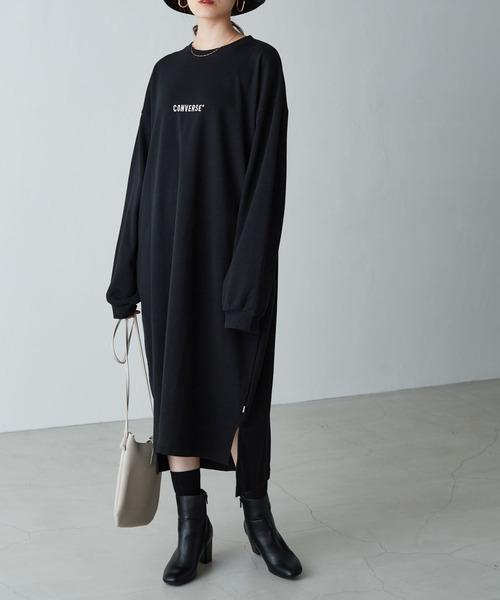 CONVERSE/コンバース Chaco closet 別注 フロント刺繍 バルーンスリーブ ポケット付き サイドスリット スウェットワンピース