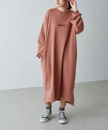 CONVERSE/コンバース Chaco closet 別注 限定 フロント刺繍 バルーンスリーブ ポケット付き サイドスリット スウェットロングワンピースモカ