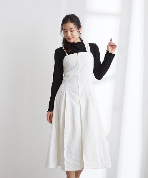 【Wefst】デニムタックジャンパースカート