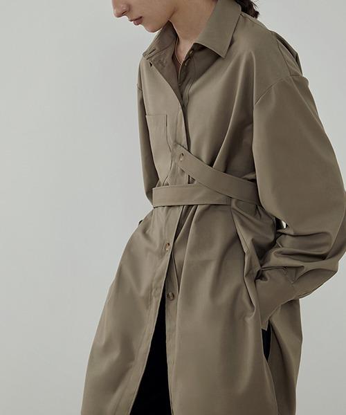 【UNSPOKEN】Long shirt with belt  UC21S017