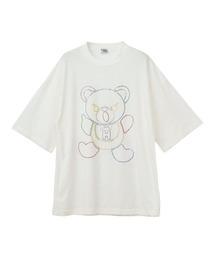 HYS BEAR刺繍 オーバーサイズTシャツホワイト