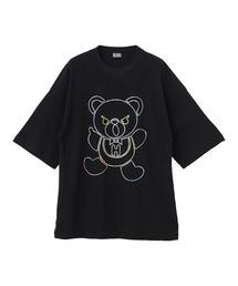 HYS BEAR刺繍 オーバーサイズTシャツブラック