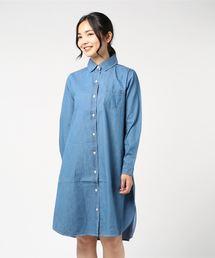 デニムシャツワンピース 2WAY 羽織物ブルー