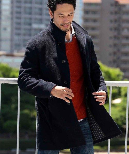 【超安い】 ヘリンボーン ウールスタンドカラーコート(ステンカラーコート)|MEN