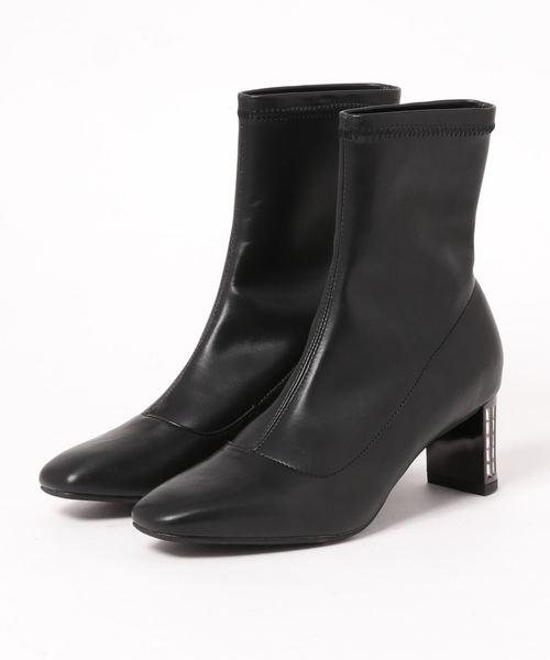 V SEVEN TWELVE THIRTY(ヴィセヴントゥエルヴサーティ)の「ストレッチショートブーツ(ブーツ)」|ブラック