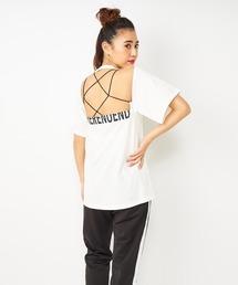 バックオープンハーフロゴTシャツオフホワイト