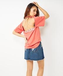 バックオープンハーフロゴTシャツピンク