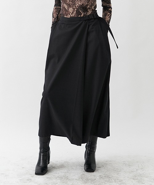 【UNSPOKEN】Different material wrap skirt UD20B004