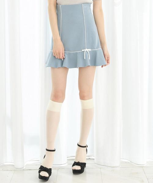 ヘムフレアパイピングミニスカート