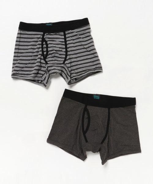 PACT(パクト) Men's Boxer Brief Two-Pack Charcoal Heather/Grey Stripe メンズ ボクサーブリーフ チャコールヘザー/グレーストライプ 2枚組