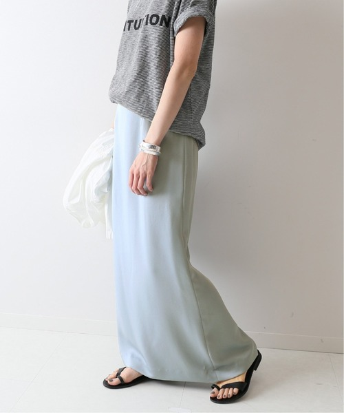 FRAMeWORK(フレームワーク)の「ヘビーサテン マキシタイトスカート2◆(スカート)」|サックスブルー
