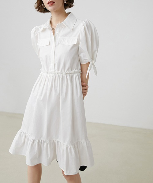 【Fano Studios】【2021SS 先行予約】Puff sleeve frilled shirt dress FX20L192