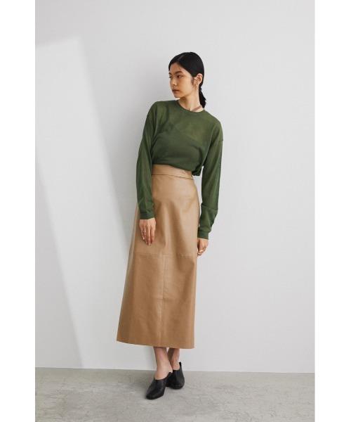[STYLEMIXER] フェイクレザーミディアムタイトスカート