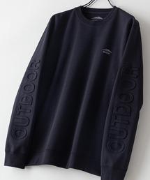 防シワ UVカット ポンチ素材使用 エンボス加工袖 ロゴスウェットトレーナー イージーケア商品ブラック