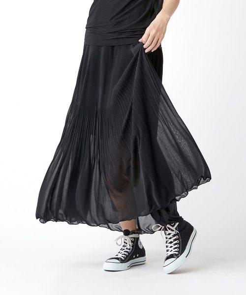 TRUNO by NOISE MAKER(トルノバイノイズメーカー)の「天竺素材裾消しプリーツスカート(スカート)」|ブラック