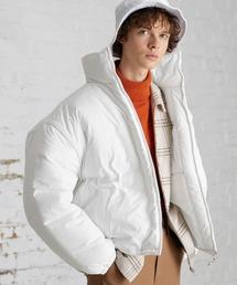オーバーサイズ スタンドカラー リングZIP ストリング エコダウンジャケット EMMA CLOTHES 2020-2021WINTERホワイト