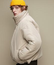 オーバーサイズ スタンドカラー リングZIP ストリング エコダウンジャケット EMMA CLOTHES 2020-2021WINTERグレイッシュベージュ