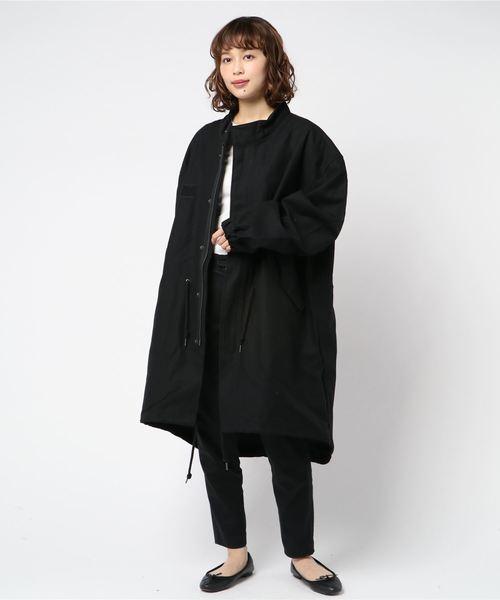 【Ir】綿サテンミリタリーコート