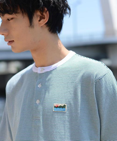 SUNNY SPORTS(サニースポーツ)別注USAコットンヘンリーネックボーダーTシャツ