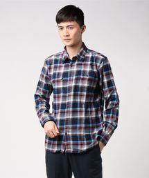 ネルチェックシャツ ユニセックス フラップポケット ワークテイストネイビー