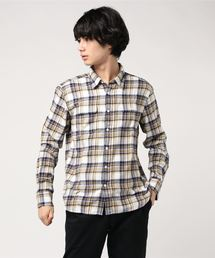ネルチェックシャツ ユニセックス フラップポケット ワークテイストライトイエロー