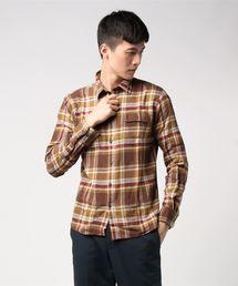 ネルチェックシャツ ユニセックス フラップポケット ワークテイストブラウン
