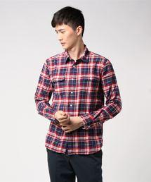 ネルチェックシャツ ユニセックス フラップポケット ワークテイストレッド