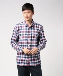 ネルチェックシャツ ユニセックス フラップポケット ワークテイストホワイト