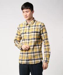 ネルチェックシャツ ユニセックス フラップポケット ワークテイストイエロー