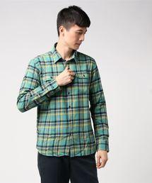 ネルチェックシャツ ユニセックス フラップポケット ワークテイストミント