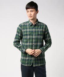 ネルチェックシャツ ユニセックス フラップポケット ワークテイストダークグリーン