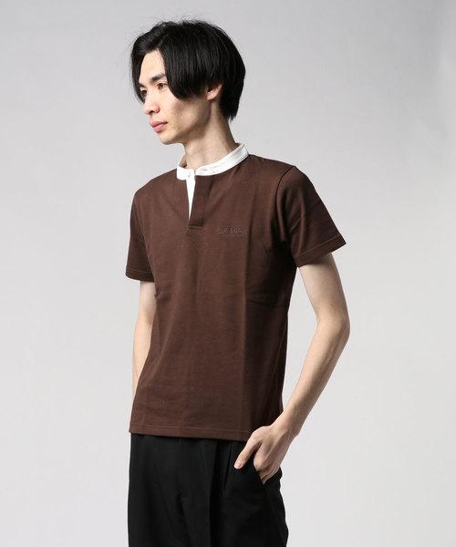 スタンドカラーヘビーウェイトTシャツ ワンポイント 同色 刺繍 ユニセックス