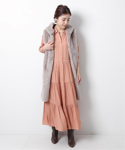 【ne Quittez pas】レーヨンストライプシャツドレス◆