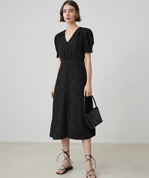 【Fano Studios】【2021SS】Puff sleeve V-neck jacquard dress FX20L201