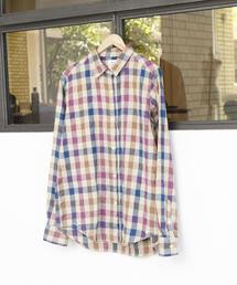 【2WAY】ウィンターリネンチェックシャツ�T