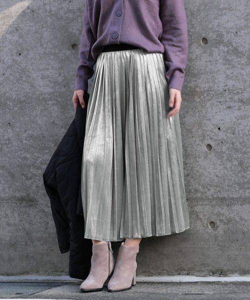 ANDJ(アンドジェイ)の「ベロアプリーツロングスカート(スカート)」|グレー