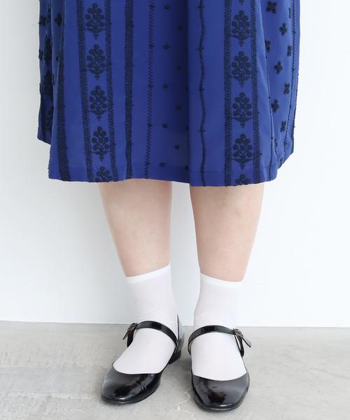 デシン  花ストライプ刺繍 ワンピース