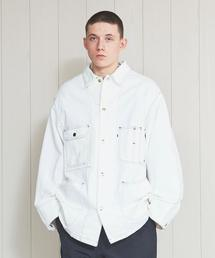 <H>WHITE DENIM COVERALL/カバーオール