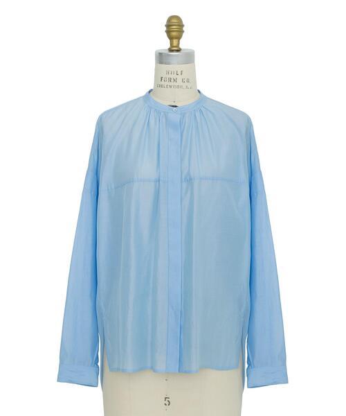 Drawer コットンシルクオーガンジーギャザーシャツ