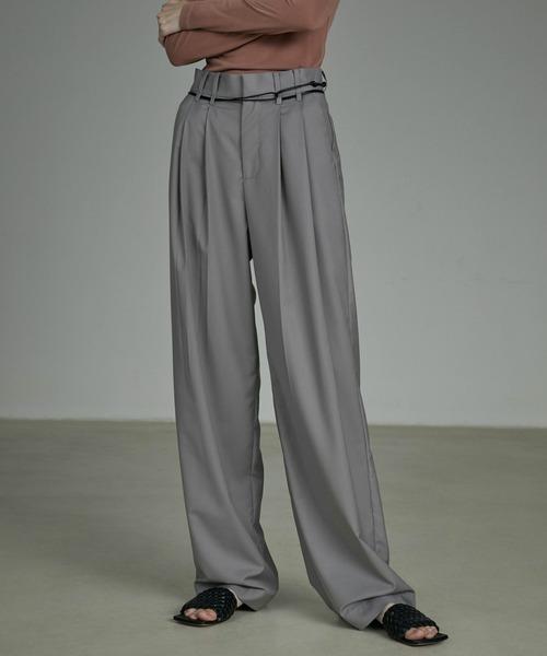 【UNSPOKEN】2tuck high-waist slacks UQ20K024