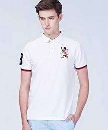 GIORDANO(ジョルダーノ)の[GIORDANO]ブリティシュライオン刺繍半袖ポロシャツ(ポロシャツ)