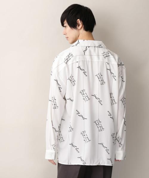 総柄プリントオーバーサイズオープンカラーシャツ L/S