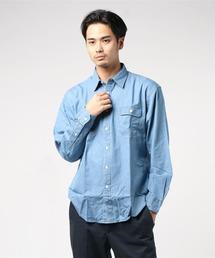 デニムリラックスフィットシャツ ドロップショルダー ビッグシルエット ユニセックスサックスブルー