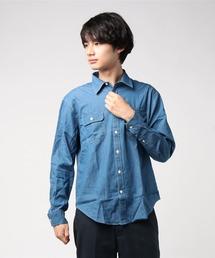 デニムリラックスフィットシャツ ドロップショルダー ビッグシルエット ユニセックスブルー