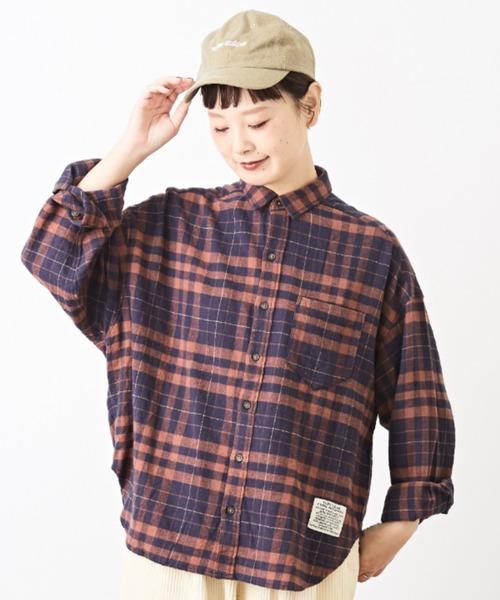 CUBE SUGAR(キューブシュガー)の「起毛ガーゼ チェック ビッグシャツ(シャツ/ブラウス)」|ブラウン系その他