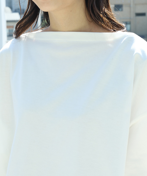 【WEB限定】AMERICANA/アメリカーナ コットン天竺ボートネック ワイドTシャツ