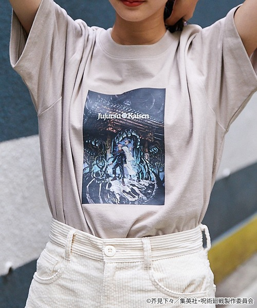 呪術廻戦 コラボ オーバーサイズカットソー/転写プリント&ロゴ刺繍<ユニセックスアイテム>